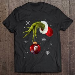 Grinch Hand Holding Michael Myers Christmas Sweater