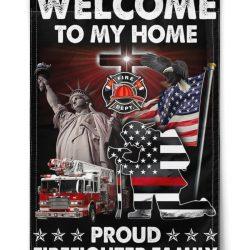 Firefighter Proud Firefighter Family Flag Flags
