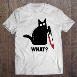 Funny Cat What Bloody Knife Witch Blood Splatter Crazy Cat